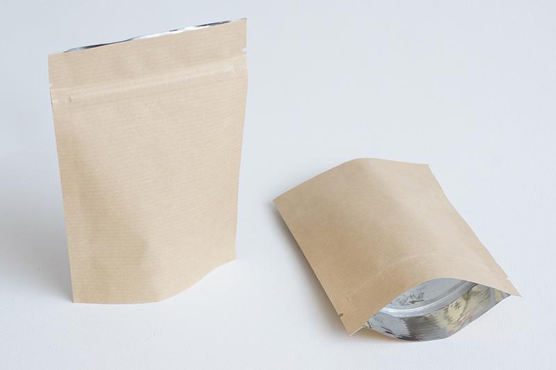 Пакет крафт без окна с замком зип-лок и  дном дой-пак