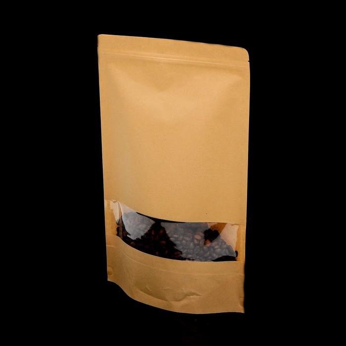 Пакет крафт окно 40м с замком зип-лок и  дном дой-пак
